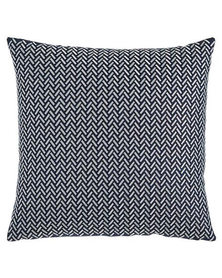 Herringbone Decorative Pillow, Blue/White