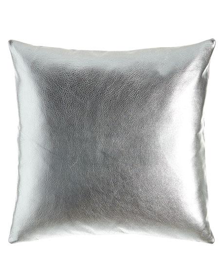 """Metallic Leather Pillow, 20""""Sq."""