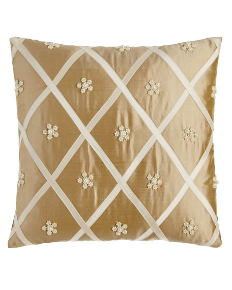 "Formality Diamond/Beaded Flower Pillow, 16""Sq."