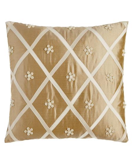 Austin Horn Classics Formality Diamond/Beaded Flower Pillow,