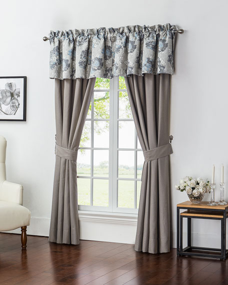 "Two Blossom Pewter Taupe Jacquard Curtains, 84""L"