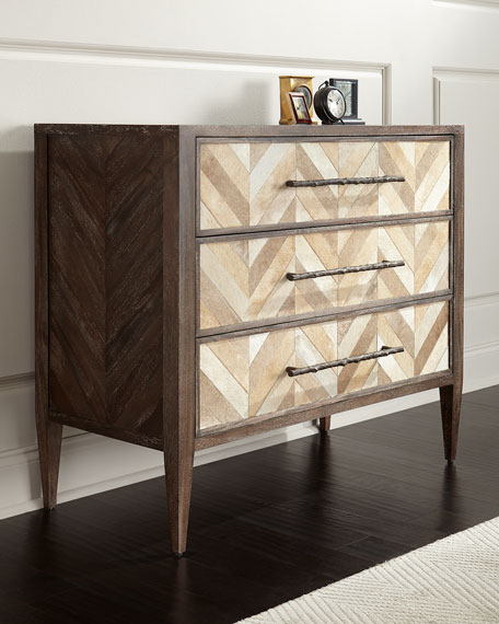 Ally Hairhide-Front Three-Drawer Chest