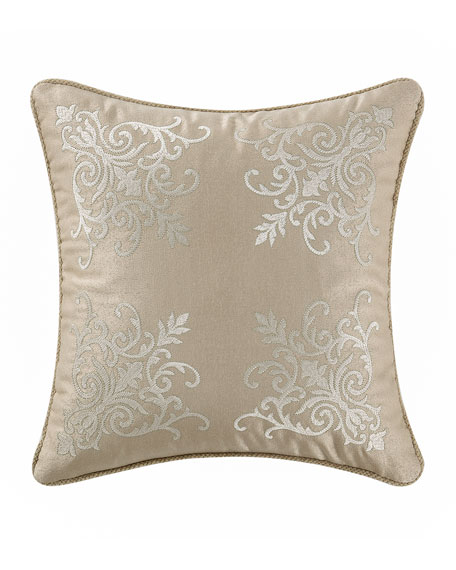 "Britt Damask-Embroidered Pillow, 16""Sq."