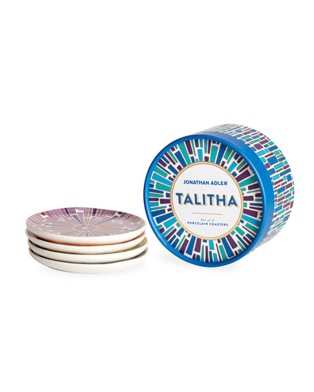Jonathan Adler Talitha Porcelain Coasters, Set of 4
