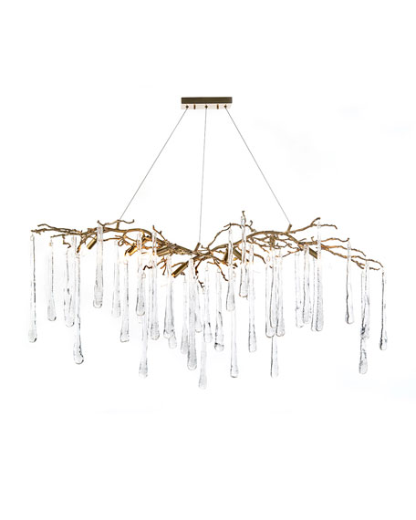 Brass & Glass Teardrop Chandelier