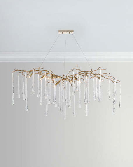 John-Richard Collection Brass & Glass Teardrop Chandelier