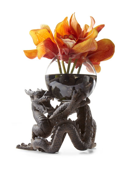 Orchid Cymbidium Faux-Floral Arrangement in Dragon Vase, Orange