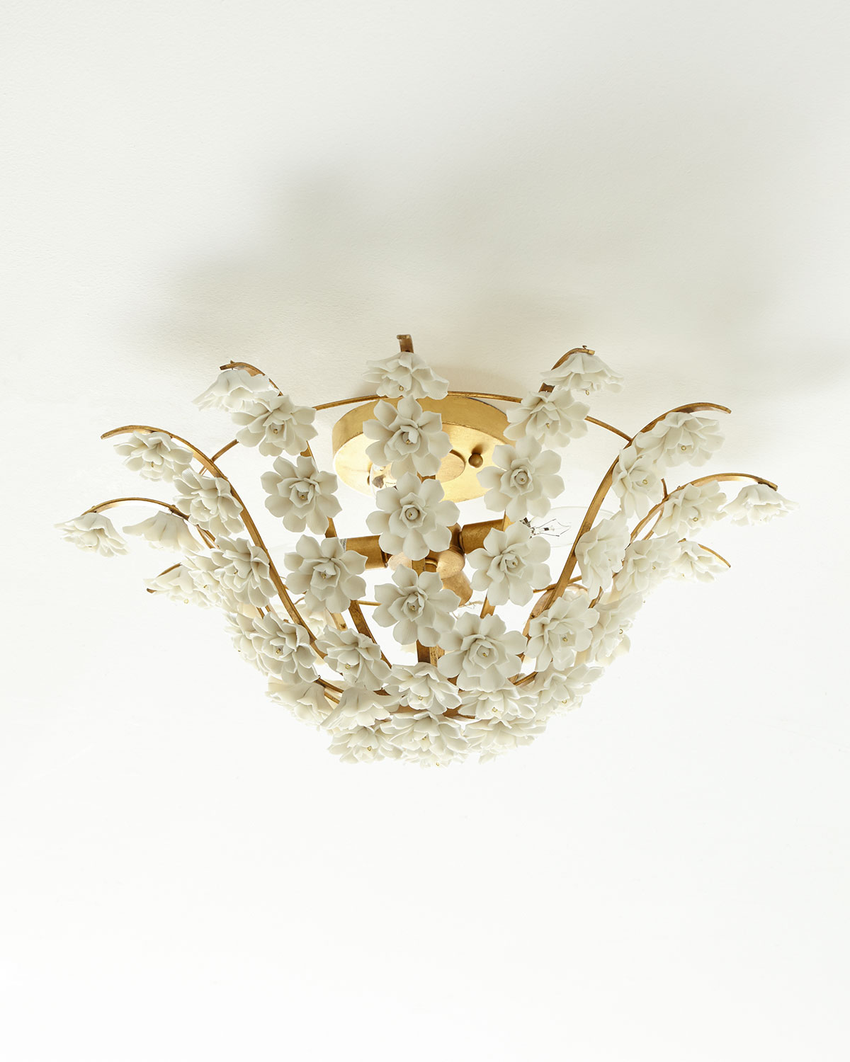 Gold light fixture neiman marcus ceramic flowers flush mount light fixture arubaitofo Gallery