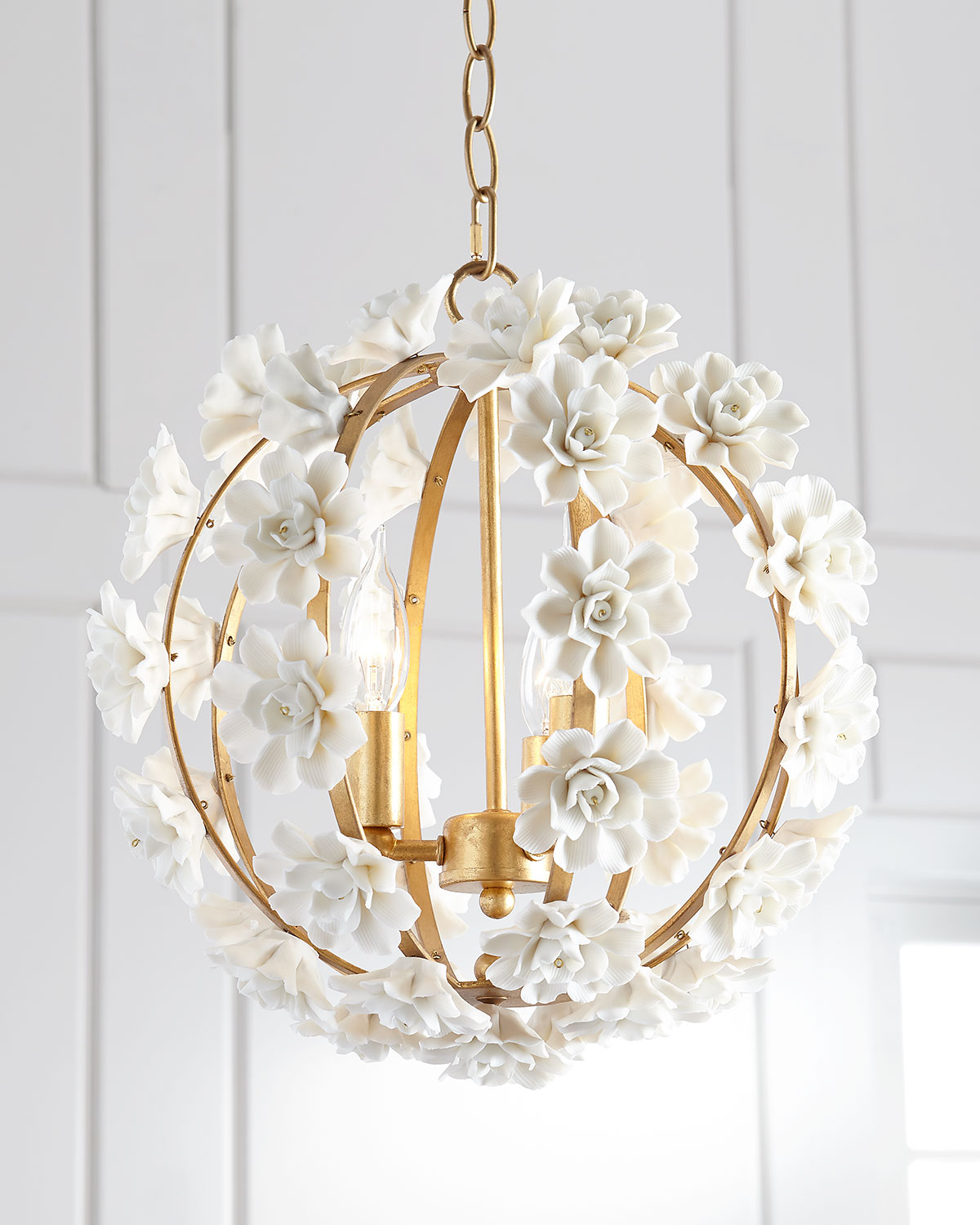 Gold light fixture neiman marcus quick look neiman marcus ceramic flower pendant light arubaitofo Gallery