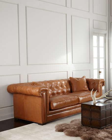 The Eleanor Rigby Leather Company Zayden Chesterfield Leather Sofa ...