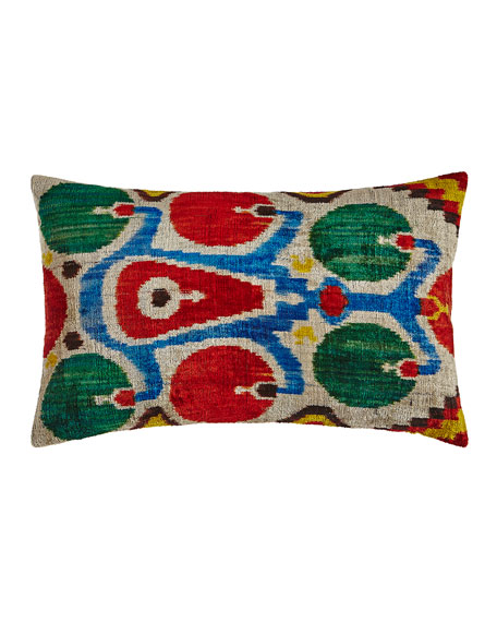 """Red/Green/Blue Silk Velvet Pillow, 24"""" x 16"""""""