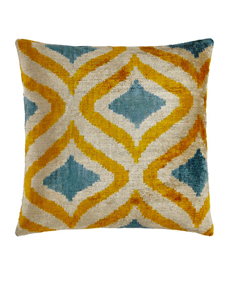 "Yellow/Blue Silk Velvet Pillow, 20""Sq."