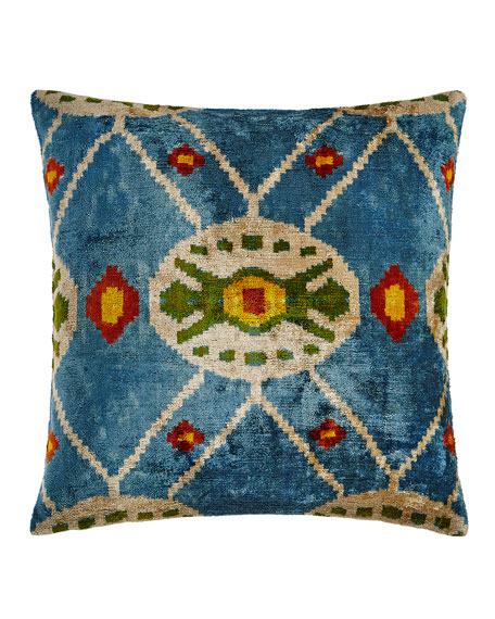 Blue Print Silk Velvet Pillow, 20