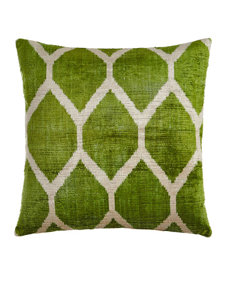 "Green Silk Velvet Pillow, 20""Sq."