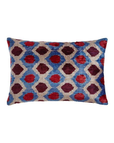 """Pink/Blue Silk Velvet Pillow, 24"""" x 16"""""""