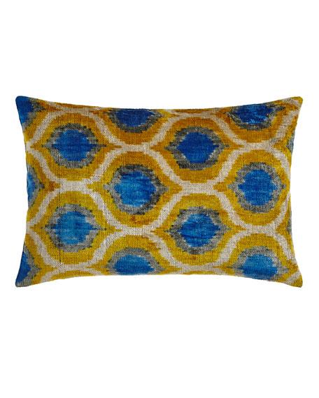 """Blue/Yellow Silk Velvet Pillow, 24"""" x 16"""""""