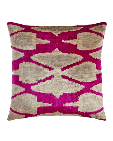 Pink Print Silk Velvet Pillow, 20