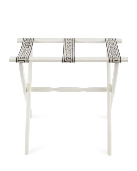 Luggage Rack with Greek Key Detailing, Pewter