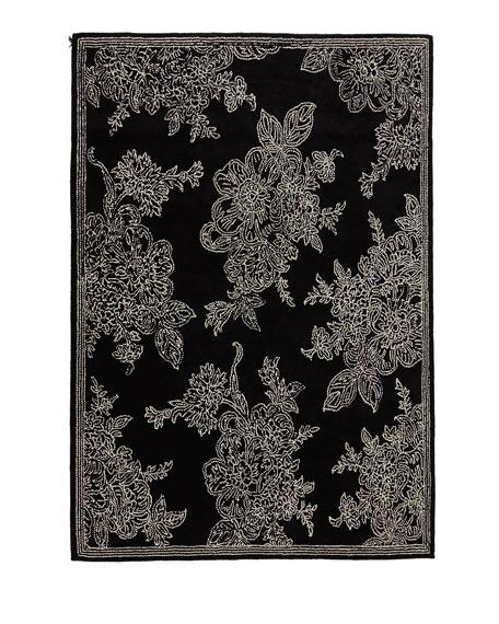 Wild Rose Rug, Black, 8' x 10'