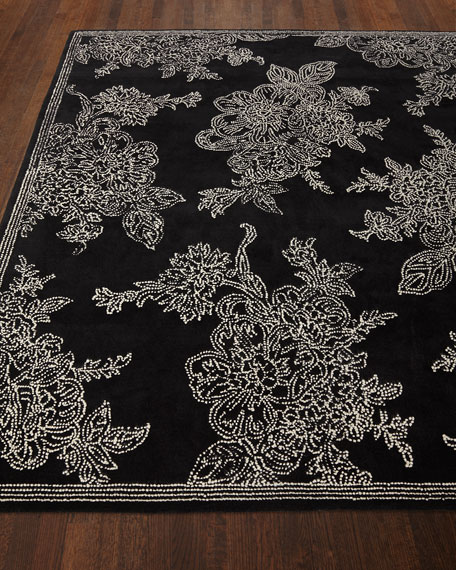 MacKenzie-Childs Wild Rose Rug, Black, 8' x 10'