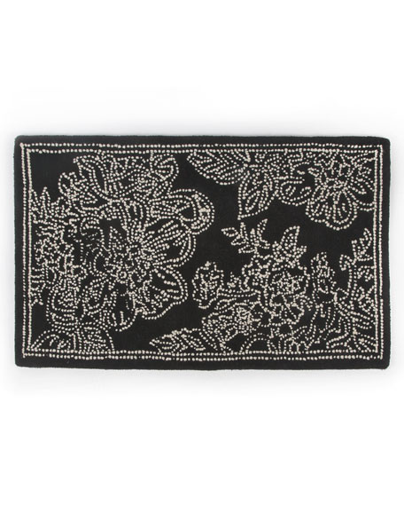 Wild Rose Mat, Black, 3' x 5'