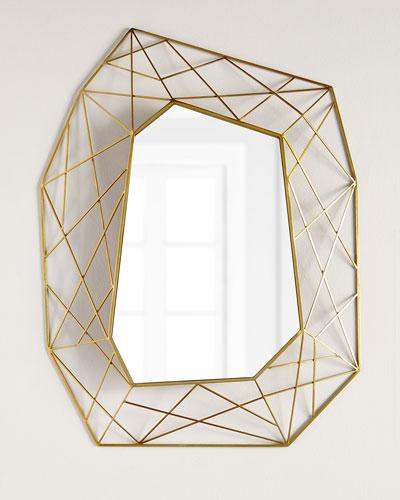 Geometric Mirror with Brass