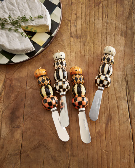 MacKenzie-Childs Stacking Pumpkins Canape Knives, Set of 4