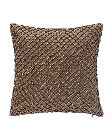 "Alisanne Beaded Pillow, 14""Sq."