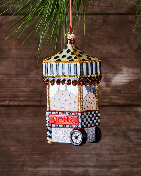 MacKenzie-Childs Boardwalk Popcorn Machine Glass Christmas Ornament