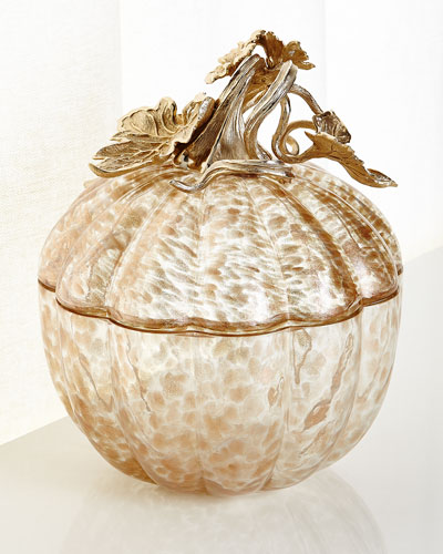 Large Gilded Glass Pumpkin Box
