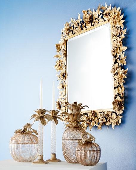 Palm Leaf Gilded Glass Jar
