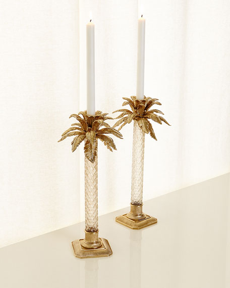 Jay Strongwater Palm Tree Gilded Glass Candlestick