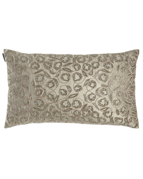 Lili Alessandra Ellie Large Rectangle Pillow, Silver