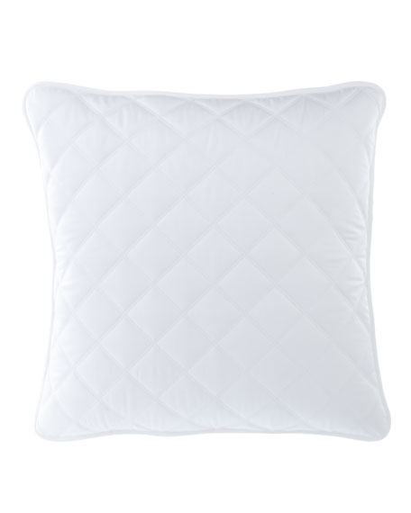 Quilted Silken Solid European Sham, White