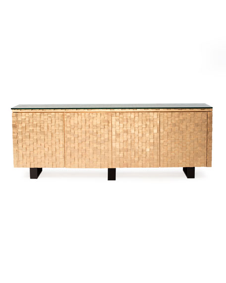 Badgley Mischka Home Harmony Gold Leaf Console