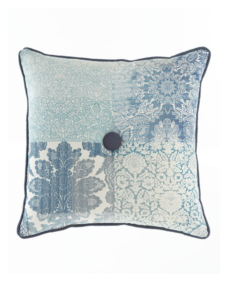 """Mallory Pillow with Button Center, 20""""Sq."""