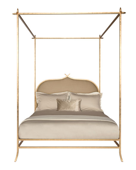 Badgley Mischka Home Ilsa Gold Poster Bed, Queen