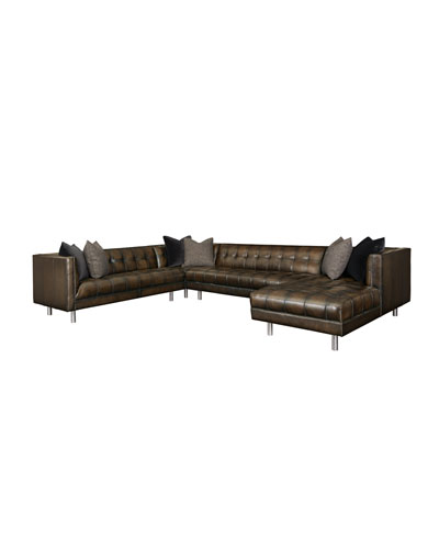 Babette Tufted Leather 4-Piece Sectional