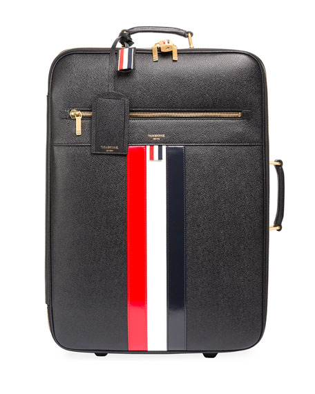 Thom Browne Leather Trolley Suitcase with Tricolor Stripes,