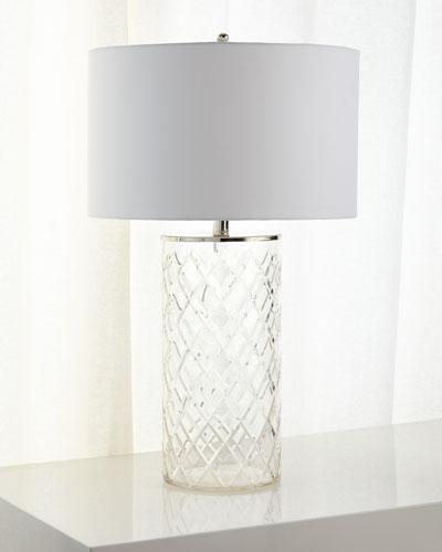 Diamond-Cut Glass Table Lamp