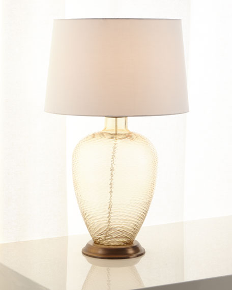 Amber Cut Glass Table Lamp