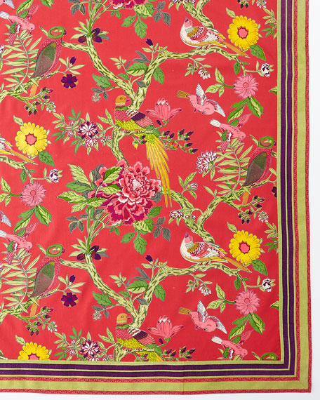 "Bird Coral Tablecloth, 72"" x 108"""