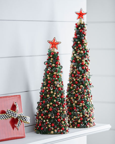 "Tartan Frost Beaded Christmas Tree, 18"""