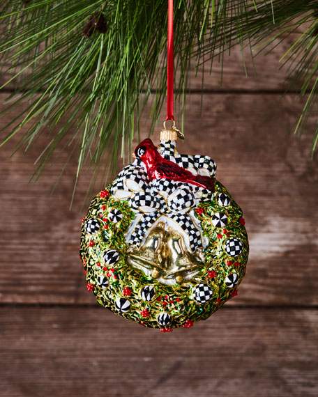 MacKenzie-Childs 2017 Wreath Glass Ornament