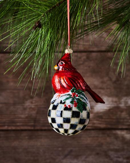MacKenzie-Childs Christmas Cardinal Glass Ornament