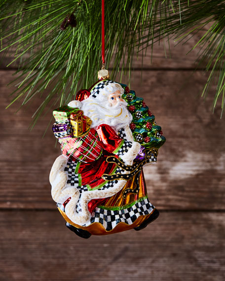 MacKenzie-Childs Dashing Santa Glass Ornament