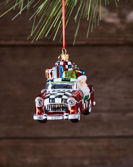 Vacation Santa Glass Ornament