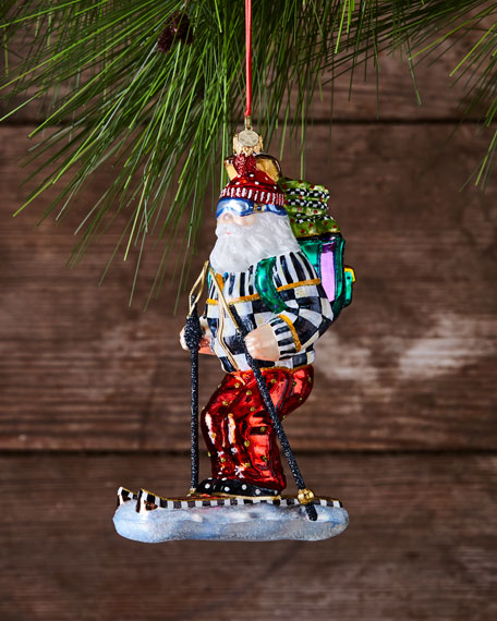 MacKenzie-Childs Downhill Santa Glass Ornament