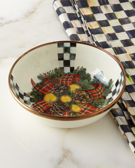 MacKenzie-Childs Evergreen Enamel Relish Dish