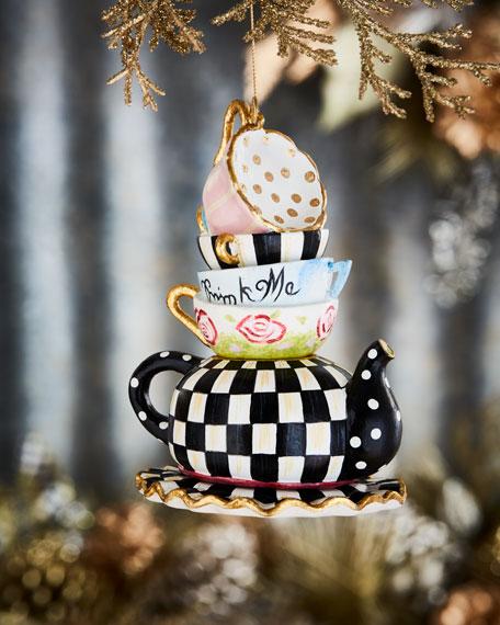 MacKenzie-Childs Wonderland Stacking Teacups Ornament